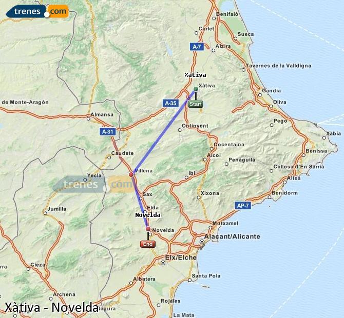 Ampliar mapa Trenes Xàtiva Novelda
