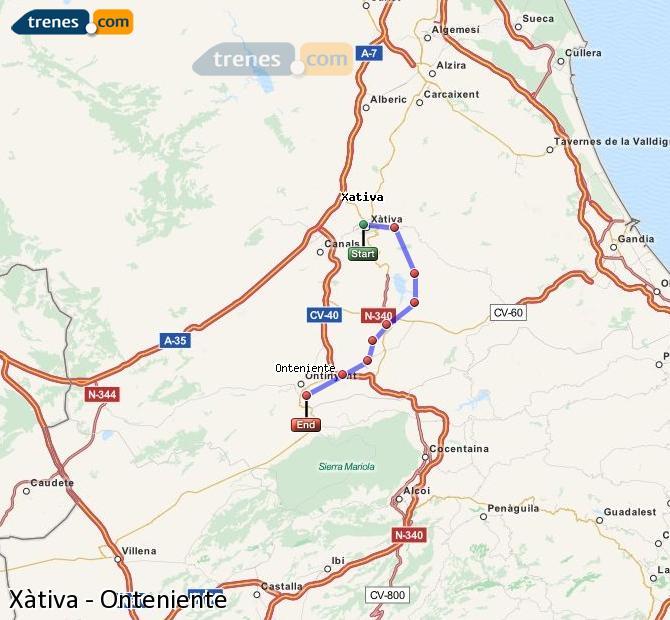 Ampliar mapa Comboios Xàtiva Onteniente