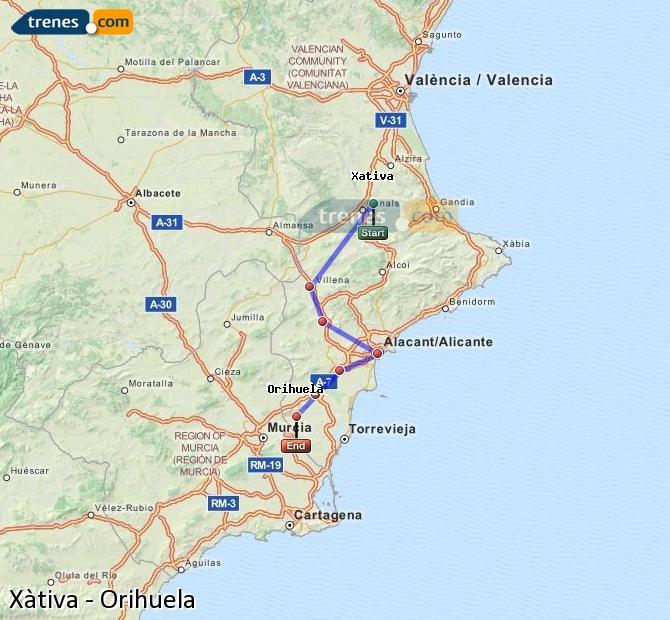 Enlarge map Trains Xativa to Orihuela