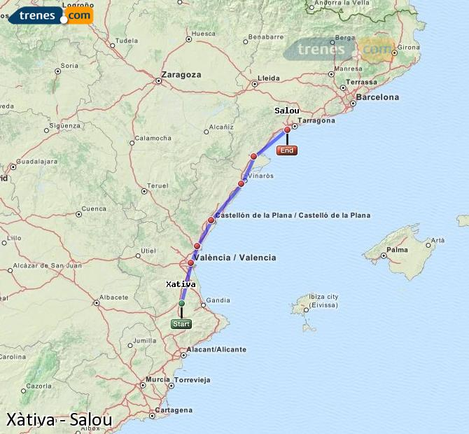 Ampliar mapa Trenes Xàtiva Salou