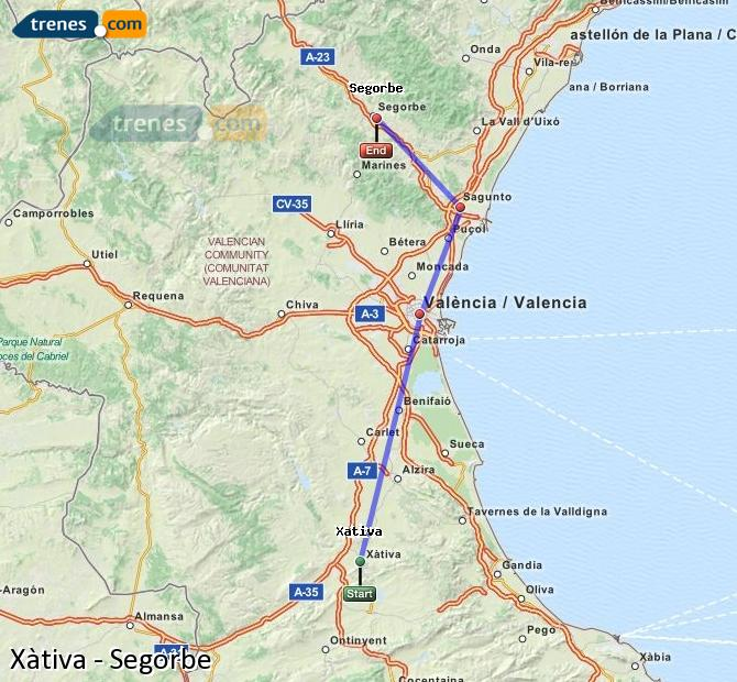 Enlarge map Trains Xativa to Segorbe
