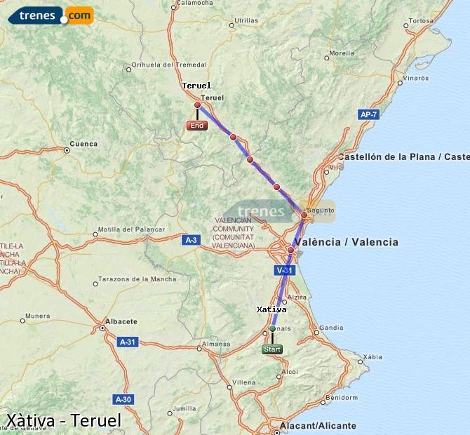 Ampliar mapa Trenes Xàtiva Teruel