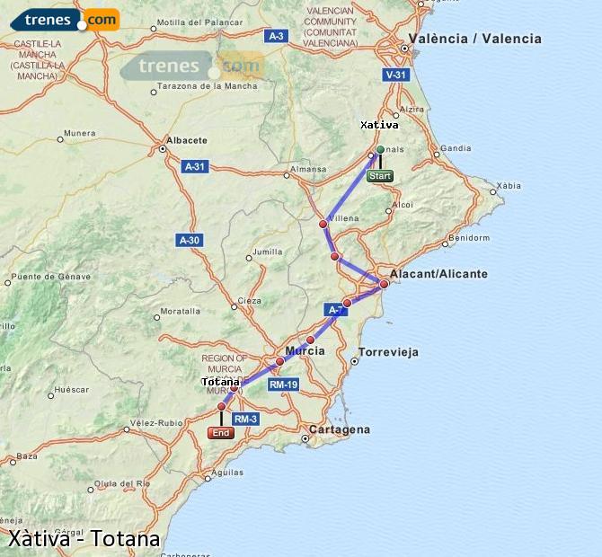 Enlarge map Trains Xativa to Totana