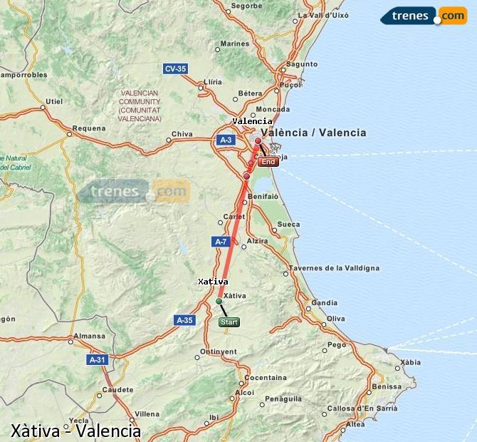 Ampliar mapa Trenes Xàtiva Valencia