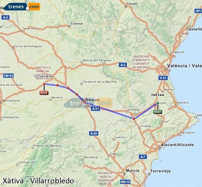 Enlarge map Trains Xativa to Villarrobledo