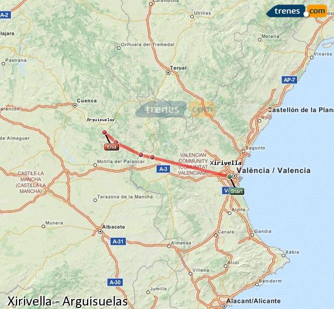 Agrandir la carte Trains Xirivella Arguisuelas