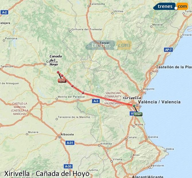 Enlarge map Trains Xirivella to Cañada del Hoyo