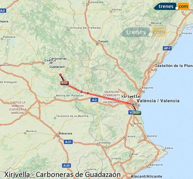 Enlarge map Trains Xirivella to Carboneras of Guadazaón