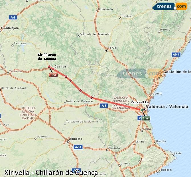 Ampliar mapa Trenes Xirivella Chillarón de Cuenca
