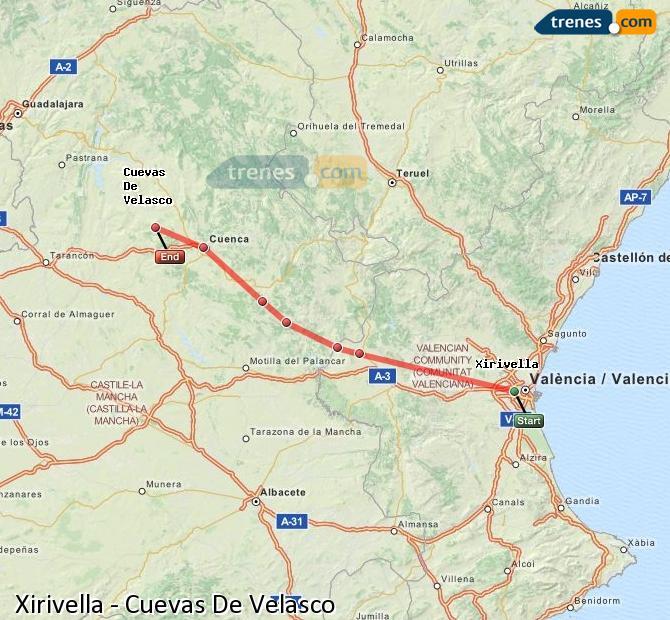 Ingrandisci la mappa Treni Xirivella Cuevas De Velasco
