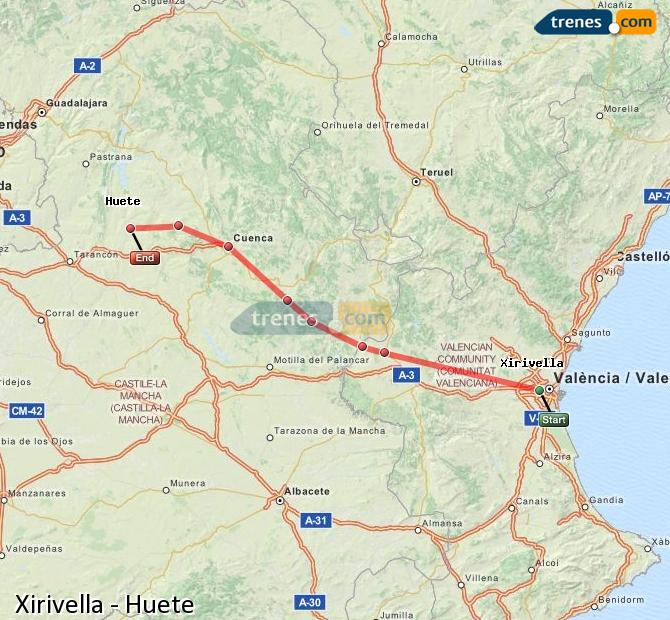 Karte vergrößern Züge Xirivella Huete
