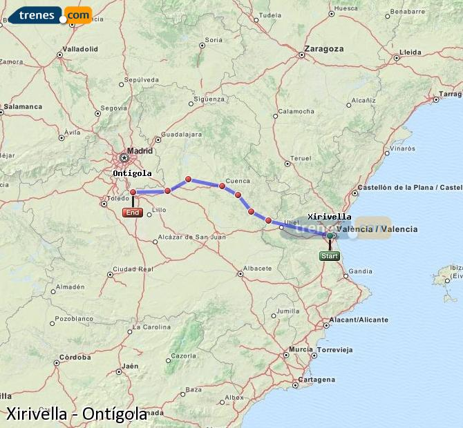 Enlarge map Trains Xirivella to Ontígola