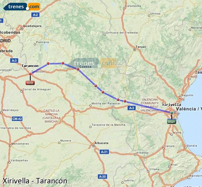Enlarge map Trains Xirivella to Tarancon
