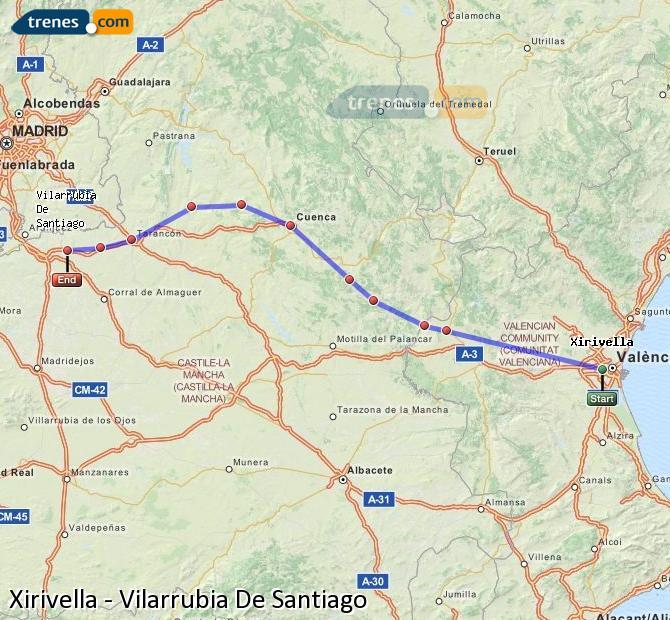 Enlarge map Trains Xirivella to Vilarrubia De Santiago