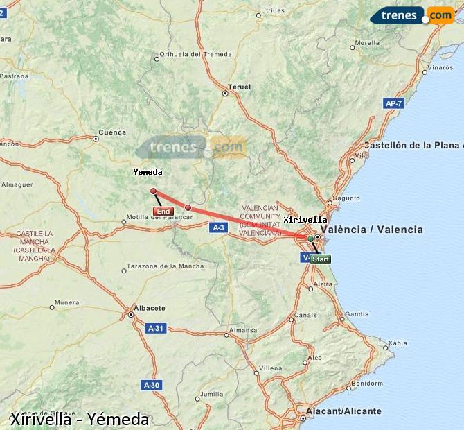 Enlarge map Trains Xirivella to Yemeda