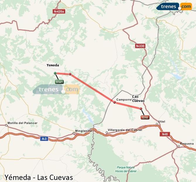 Enlarge map Trains Yemeda to Las Cuevas