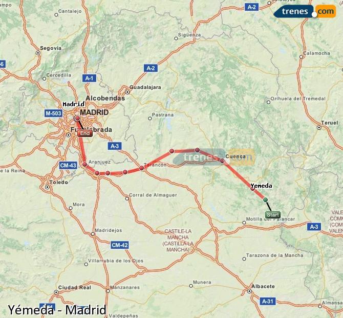 Karte vergrößern Züge Yémeda Madrid