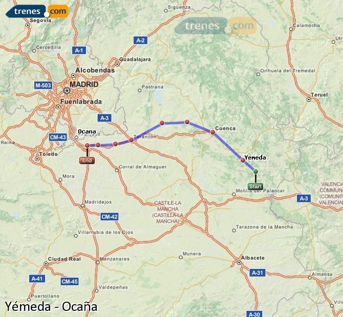Ingrandisci la mappa Treni Yémeda Ocaña
