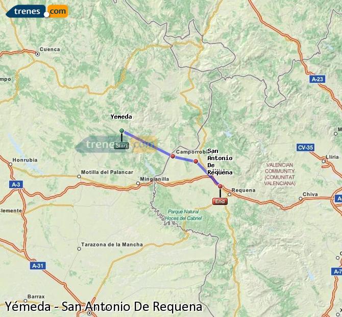 Karte vergrößern Züge Yémeda San Antonio De Requena