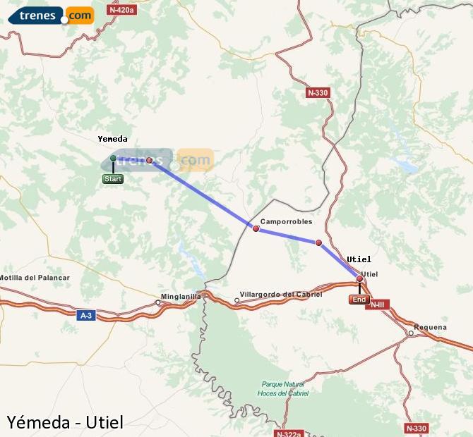 Enlarge map Trains Yemeda to Utiel