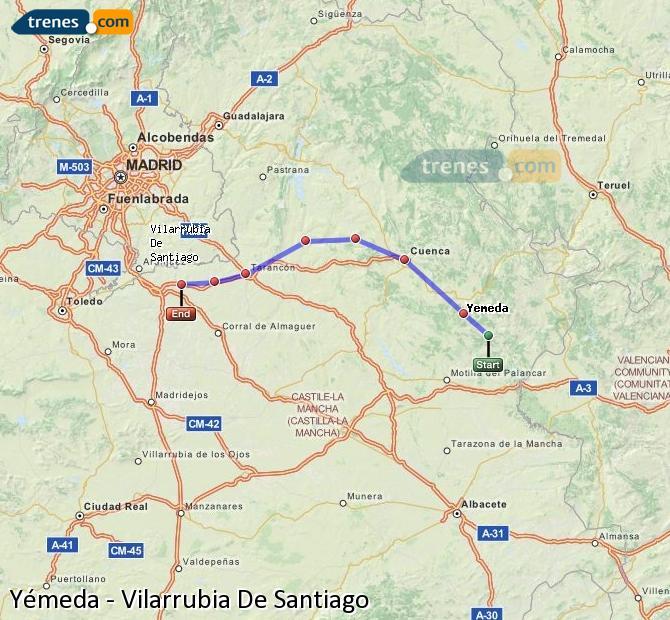 Karte vergrößern Züge Yémeda Vilarrubia De Santiago