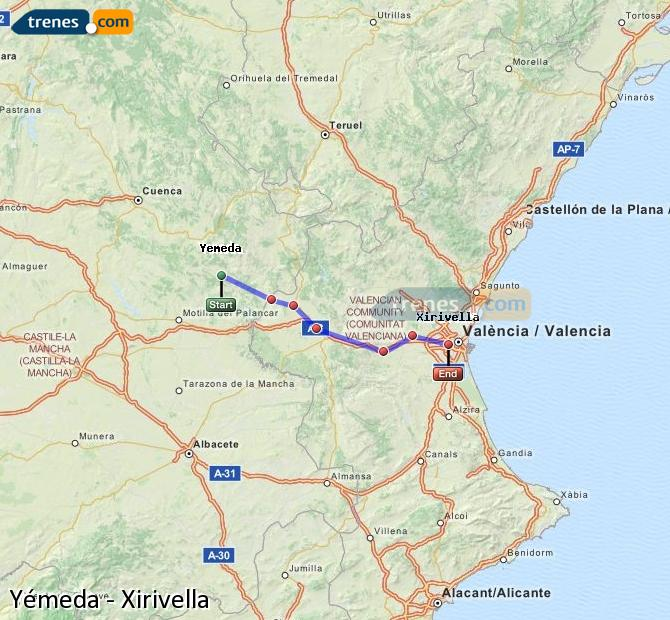 Enlarge map Trains Yemeda to Xirivella