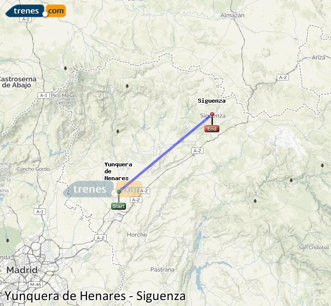 Karte vergrößern Züge Yunquera de Henares Siguenza