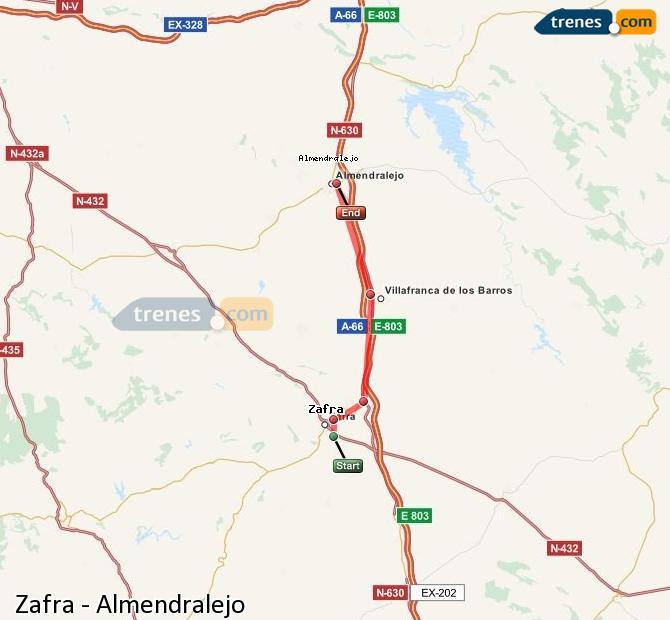 Karte vergrößern Züge Zafra Almendralejo