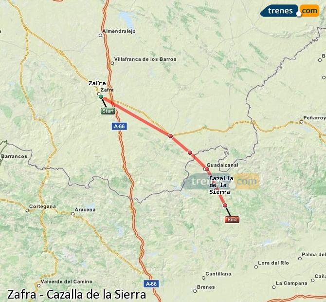 Enlarge map Trains Zafra to Cazalla de la Sierra