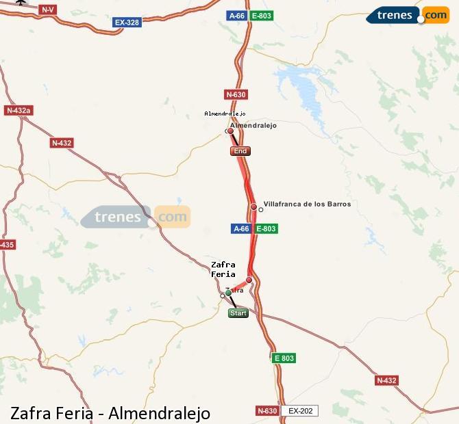 Enlarge map Trains Zafra Feria to Almendralejo