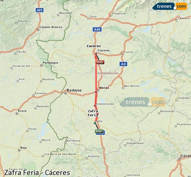 Enlarge map Trains Zafra Feria to Caceres