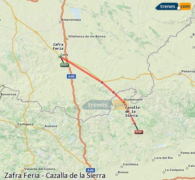 Enlarge map Trains Zafra Feria to Cazalla de la Sierra