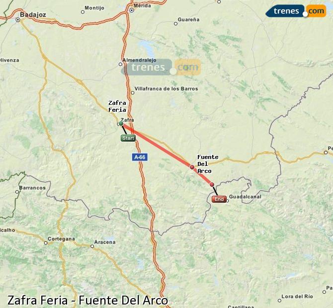 Agrandir la carte Trains Zafra Feria Fuente Del Arco