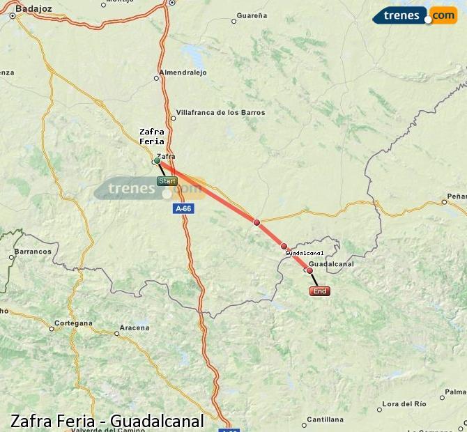 Enlarge map Trains Zafra Feria to Guadalcanal