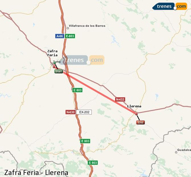 Agrandir la carte Trains Zafra Feria Llerena