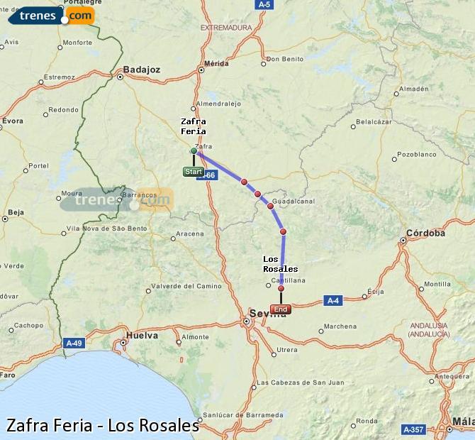 Ingrandisci la mappa Treni Zafra Feria Los Rosales