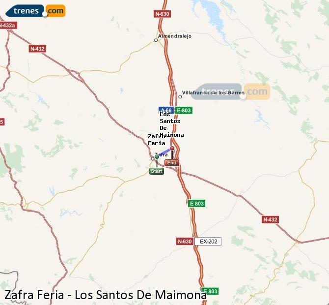 Enlarge map Trains Zafra Feria to Los Santos De Maimona