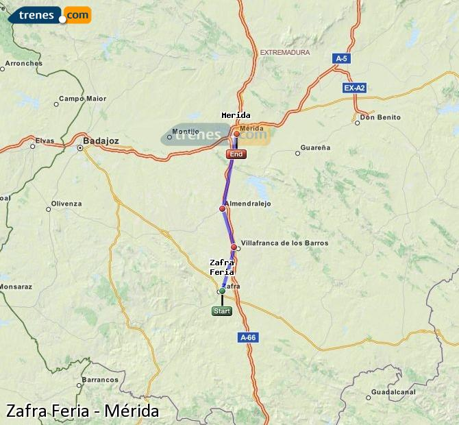 Ampliar mapa Trenes Zafra Feria Mérida