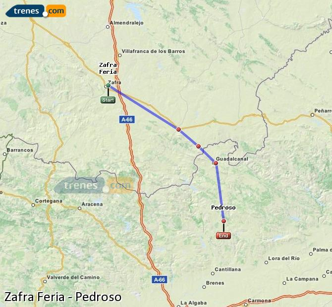 Enlarge map Trains Zafra Feria to Pedroso
