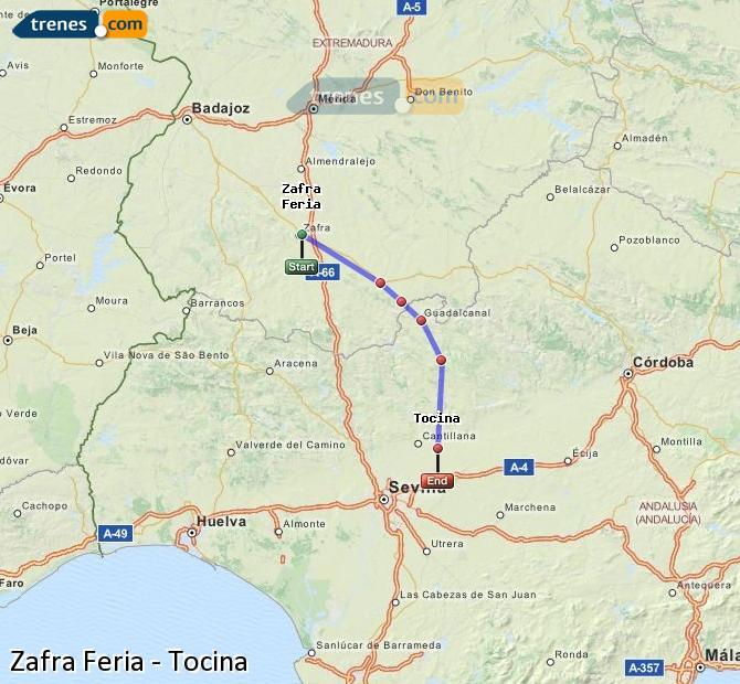 Enlarge map Trains Zafra Feria to Tocina