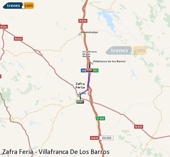 Enlarge map Trains Zafra Feria to Villafranca De Los Barros