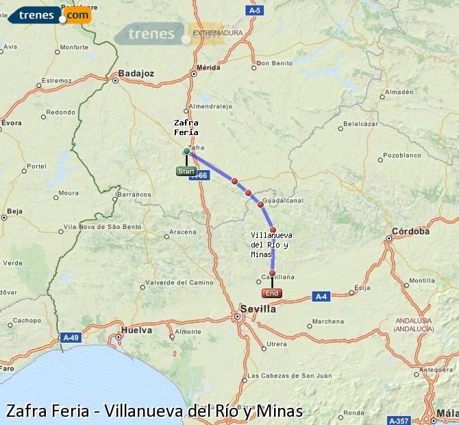 Enlarge map Trains Zafra Feria to Villanueva del Río y Minas