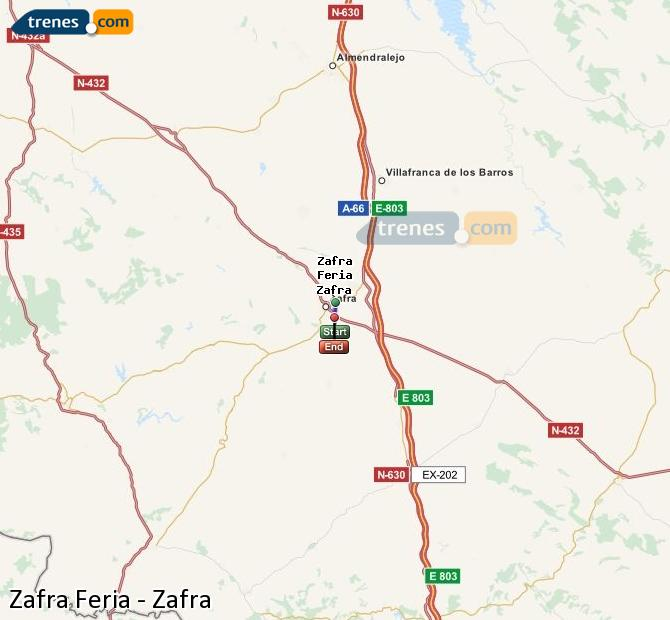 Karte vergrößern Züge Zafra Feria Zafra