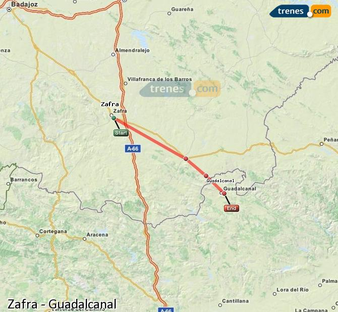 Enlarge map Trains Zafra to Guadalcanal