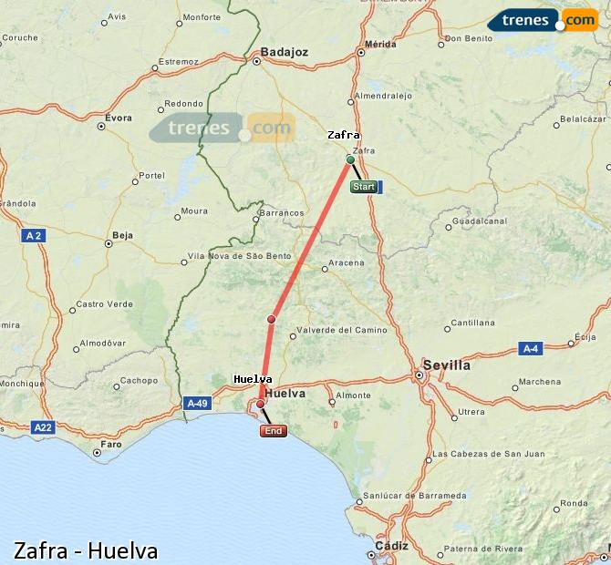 Enlarge map Trains Zafra to Huelva