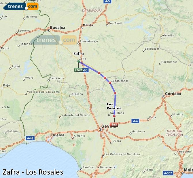 Enlarge map Trains Zafra to Los Rosales