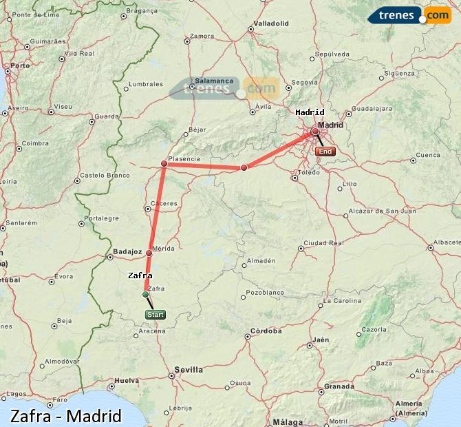 Ampliar mapa Trenes Zafra Madrid
