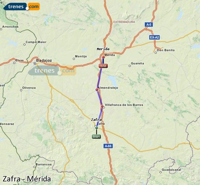 Ampliar mapa Trenes Zafra Mérida