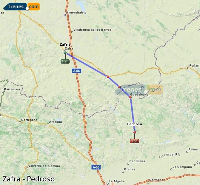 Enlarge map Trains Zafra to Pedroso