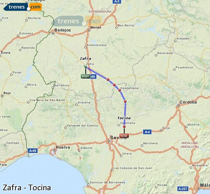 Enlarge map Trains Zafra to Tocina